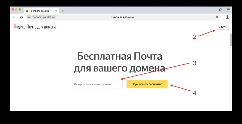 Подключение домена к Яндексу