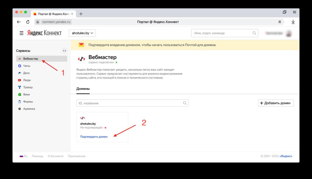 Яндекс Коннект. Настройка домена